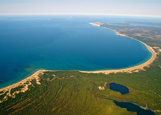 Honor, MI: Ariel of Loon Lake, Platte River, Platte Bay, Lake Michigan Shore Line, and Sleeping Bear Dunes
