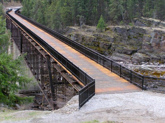 Historic bridge renovated in 2011. Located on Island Park in Thompson Falls off of Gallatin Stre