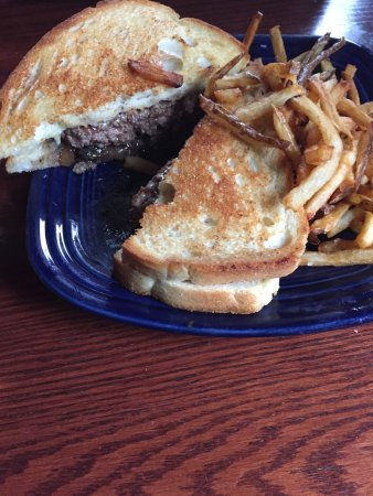 Amesbury, MA: Burger on Italian loaf bread with swiss, carmelized onions and mushrooms