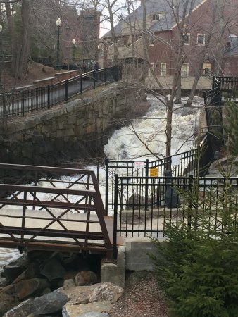 Amesbury, MA: shot of the falls from 2nd floor by the window in Ale House