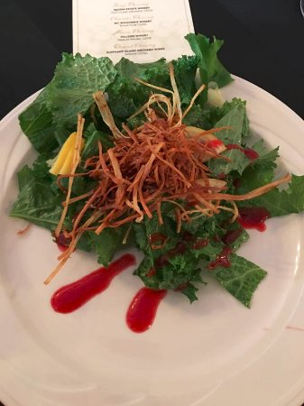 St. Eugene Golf Resort & Casino: Friday night starter salad. 3 Crows Farm Baby Mustard Greens, crispy parsinp, Rasp. Vinagrette