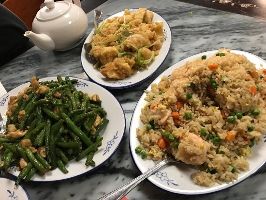 Oakdale, Californien: Ginger Scallion Fish, Shrimp Fried Rice, String Bean Chicken