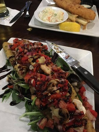 Randolph, MA: Tuscan Eggplant Salad-fish & chips in the background