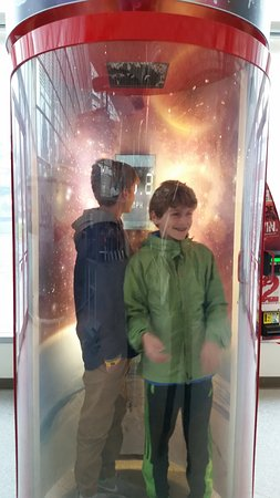 The Museum of Flight : This is the boys in the wind tunnel.