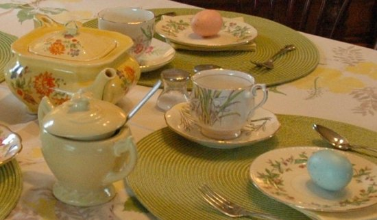 Galesburg, MI: Picked up assorted tea cups, pot, plates, painted wooden eggs and tablecloth