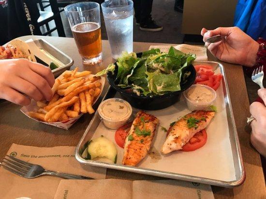 Burien, WA: Salmon and Caesar salad