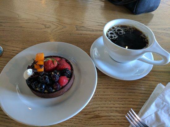 Artesia, CA: fruit and custard tart on a chocolate base with coffee