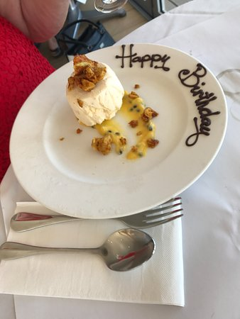 Port Noarlunga, Australië: Mango & Coconut Parfait - Birthday presentation.