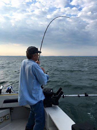 Oswego, NY: Reeling in the salmon!