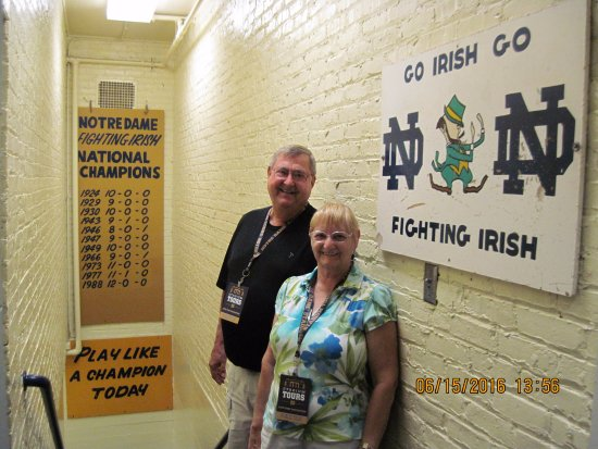 Notre Dame Stadium: In the stairwell that the players run out onto the field before every game.