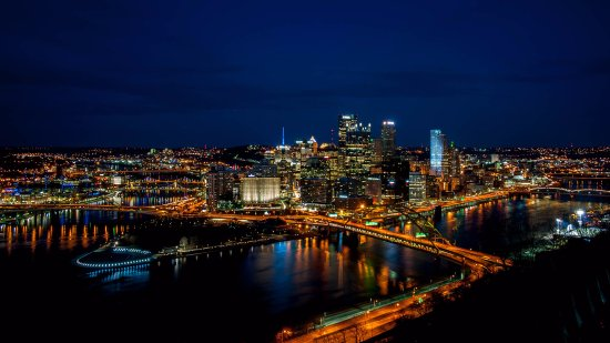 """Mount Washington: Photo of the """"golden triangle"""" in Pittsburgh just after sunset"""