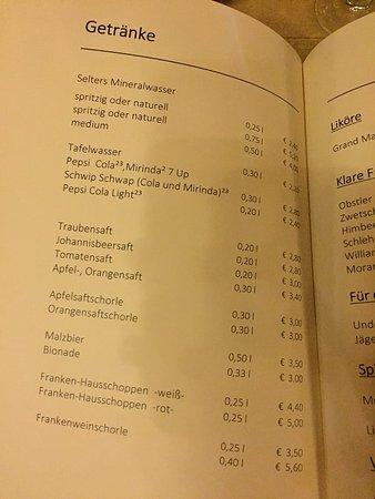 Heilig Geist Spital: Menu - drinks.