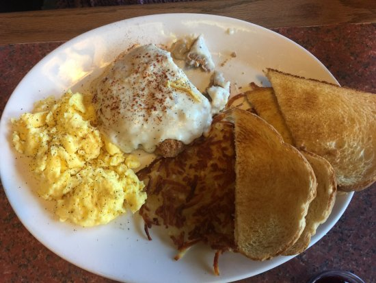 Grants Pass, OR: Chicken fried steak , hash browns and scrambled eggs