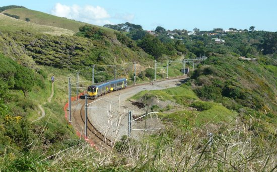 Paekakariki, New Zealand: A south bound train which I won't catch, but luckily they're half an hour apart all day.