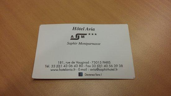 Avia Saphir Montparnasse Hotel La Carte De Visite