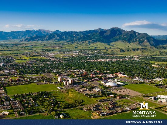 A view of Montana State University and the Bridger Mountains