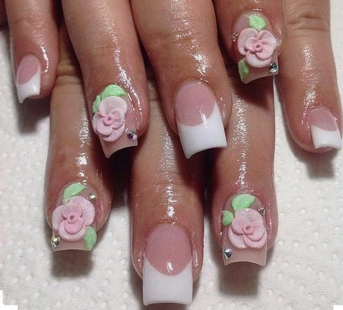 French Acrylic Gel Extension With 3d Design 35 Picture Of Mc