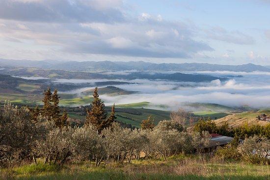 Hotel S.Elisa: La splendida veduta all'alba delle colline, vista dal terrazzo della camera