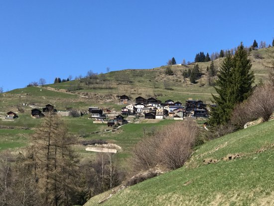 Orsieres, Switzerland: View of the village from one of our hiking trails