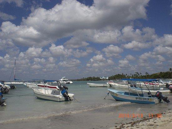Bayahibe, Δομινικανή Δημοκρατία: Часть пляжа в Байяибе, где швартуются лодки