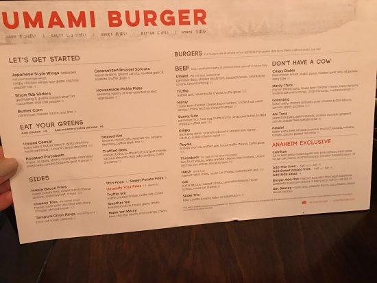Umami Burger: Menu