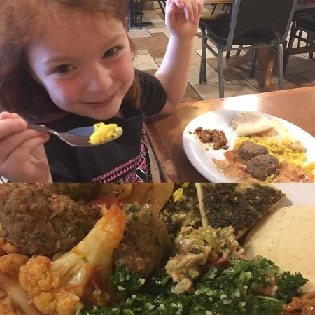 Sanaa s Gourmet Mediterranean: My 6-year-old enjoying her meal and a shot of my plate :)