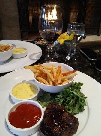 Bacchus Restaurant & Lounge: Nice presentation- sirloin a little tough- love the fries & salad. Wine was excellent.