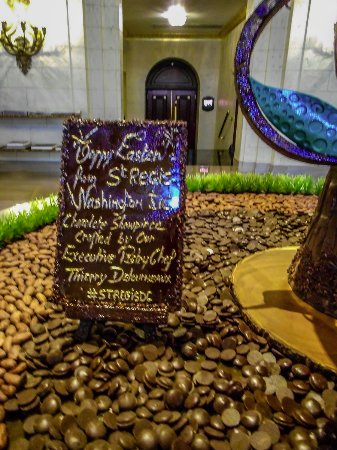 The St. Regis Washington, D.C.: the information of chocolate egg written on a chocolate tablet