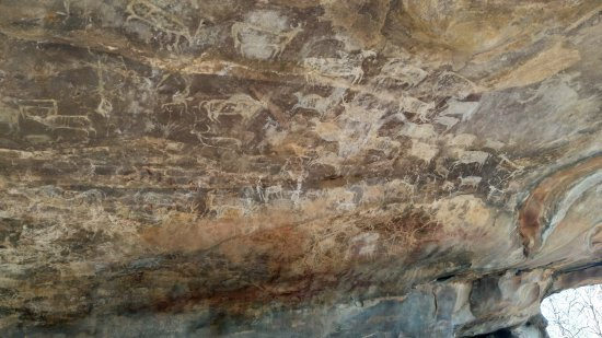 Rock Shelters of Bhimbetka: Wall paintings in the rock shelter after a walk of less than half a km from the entrance