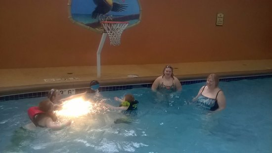 "KeyLime Cove Indoor Waterpark Resort: All enjoyed playing basketball in designated area. It's 3'6"". Life jacket needed if not a swimme"