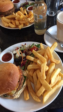 Govinda's: Govindas Burger and chips (suitable for vegans) & cheese burger and chips (vegetarian)