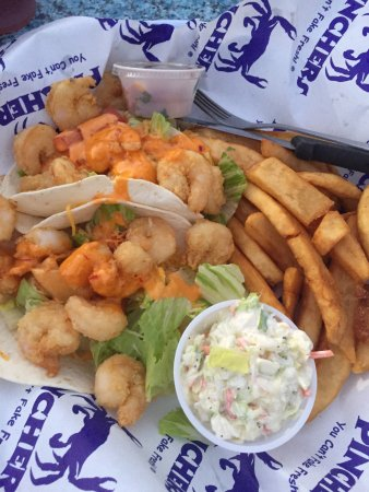 Pinchers: Kid's cheeseburger, kids Hot dog, Fish & Chips, and shrimp tacos! Great food and Ambiance. With