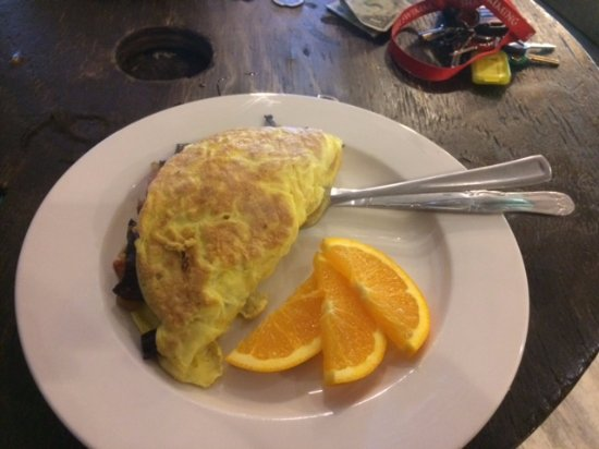 Warrensville Heights, OH: Three-egg omelettes are made to order.
