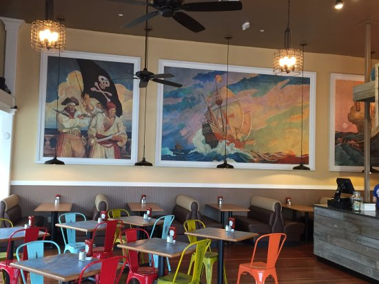 Tom S Fish Chips Interior And Artwork Picture Of Tom S Fish Chips Seaside Tripadvisor