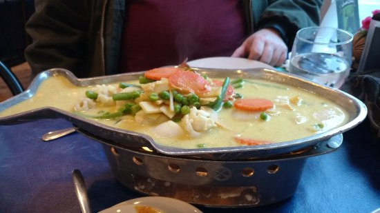 Troy, NH: This is Seafood Curry, which my husband had. Variety of seafood in a hot curry sauce.