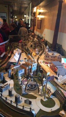 Maxim's At Oconomowoc Depot: This is the model train set up representing Oconomowoc landmarks.