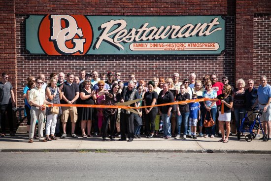 Saint Joseph, MO: Chamber of Commerce ribbon cutting ceremony of the re-opening of the historic D&G Pub n' Grub