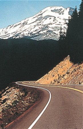 La Pine, OR: Cascade Lakes Scenic Hwy winding curves pass Mt. Bachelor ski resort and several lake resorts.