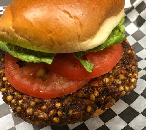 Cambridge, OH: Earth Burger. Vegan, ancient grains sorghum, chia, hemp, lentils.