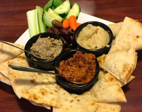 Cambridge, OH: House made Hummus, Baba and Muhumarra Dip.