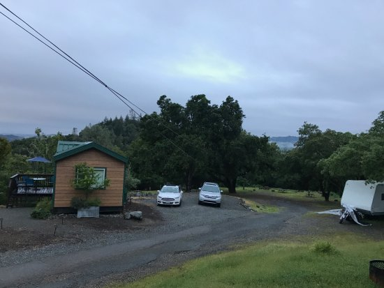 Cloverdale KOA Camping Resort: Log cabin view