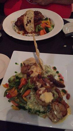 Troy, NY: Blackened Scallops Pesto Mashed Potatoes, crispy pork belly & Braised Short Ribs