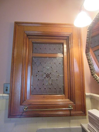 Pabst Mansion - Decorative Window in Public Restroom