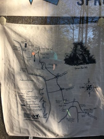 Spruce Flats Falls : Trail map - not a great photo, but it's behind glass in an info sign box at Tremont.