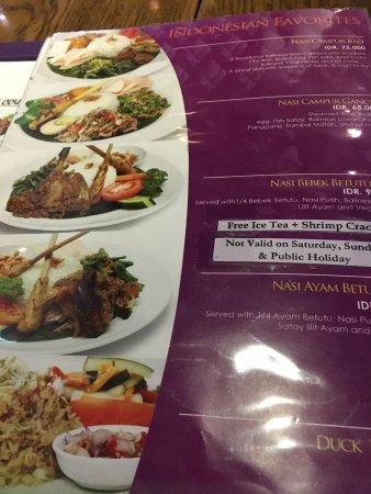 Bebek Bengil: the menu