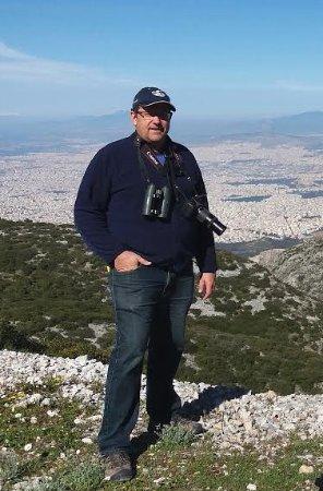 Marathon, Greece: Burke from Toronto, Canada, enjoying birdwatching at Hymettus Mt, Athens
