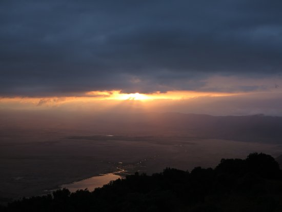 Ngorongoro Wildlife Lodge: View in Early Morning (Lake Magadi Is outside the Picture on the Left-Hand Side)