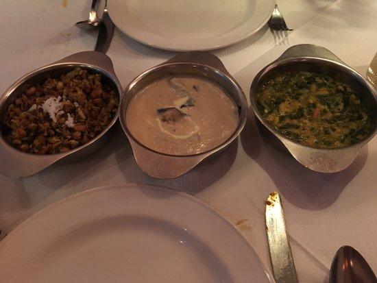Rasa N16: Dry bean, aubergine and cashew and spinach (I think).