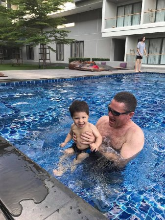 Kabin Buri, Thailand: My son and I in the pool!