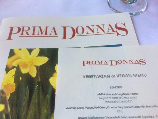Prima Donnas: Glance at the menu...